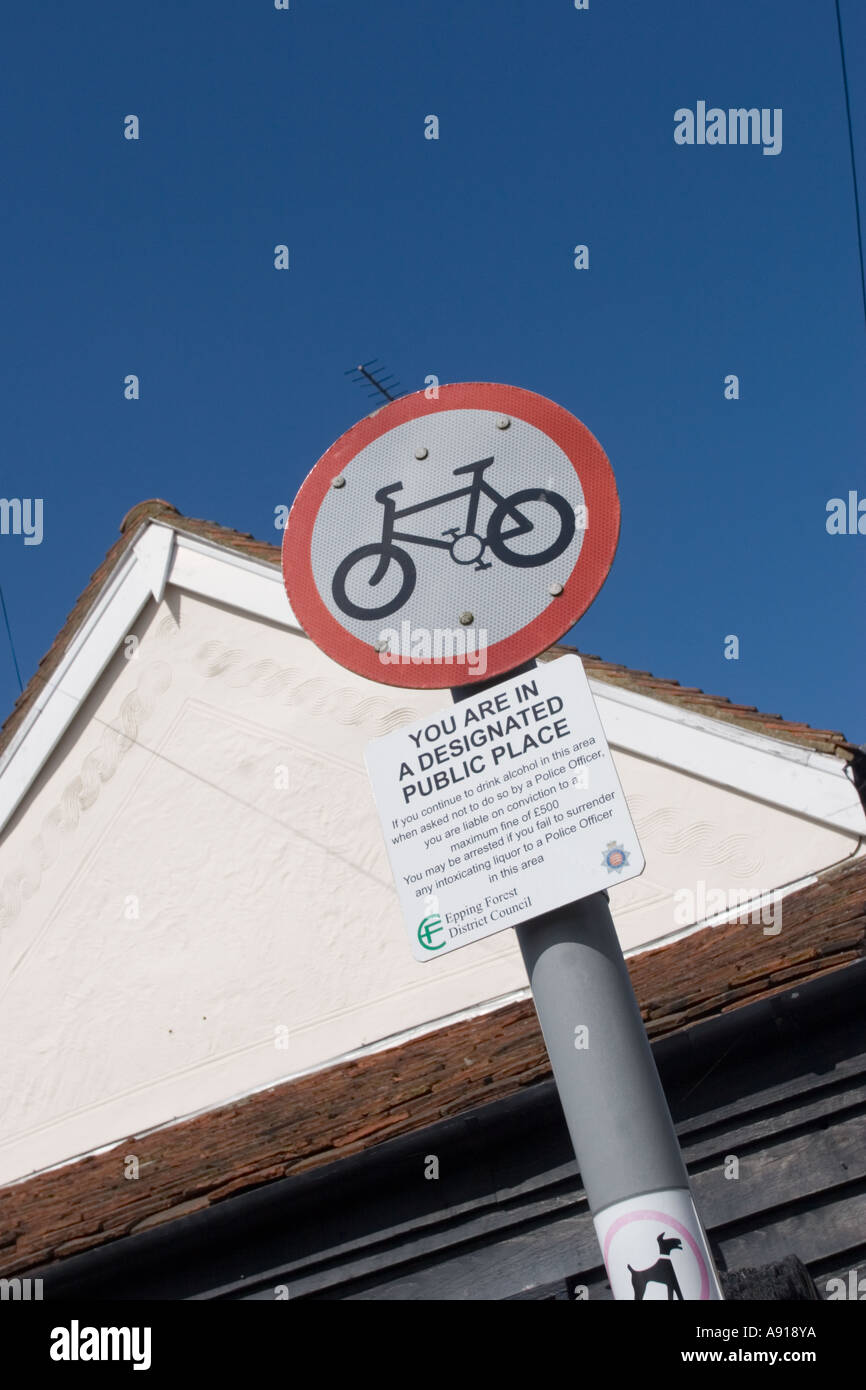 No cycling sign - designated public place traffic sign - Stock Image