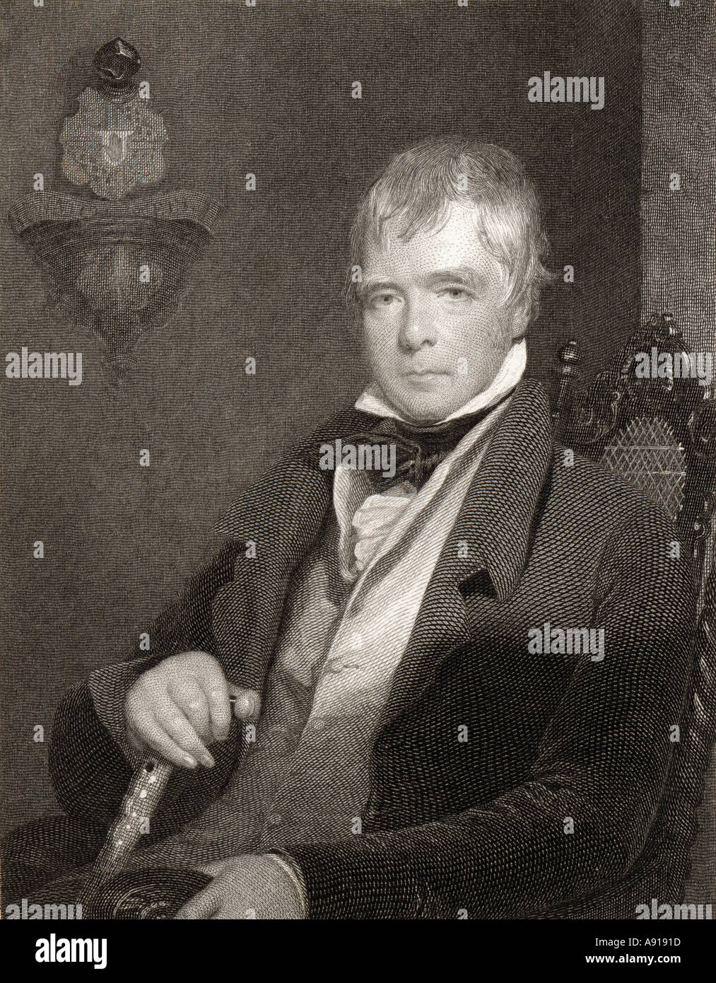 Sir Walter Scott, 1771 - 1832. Scottish novelist, poet, historian and biographer. - Stock Image