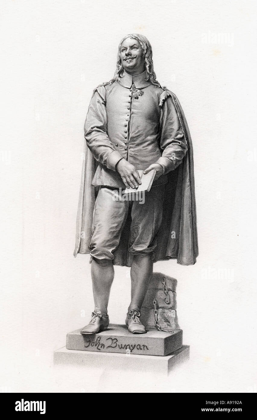 John Bunyan, 1628-1688. English writer and Puritan preacher,author of The Pilgrim's Progress.  From the statue by J E Boehm c 1876 - Stock Image