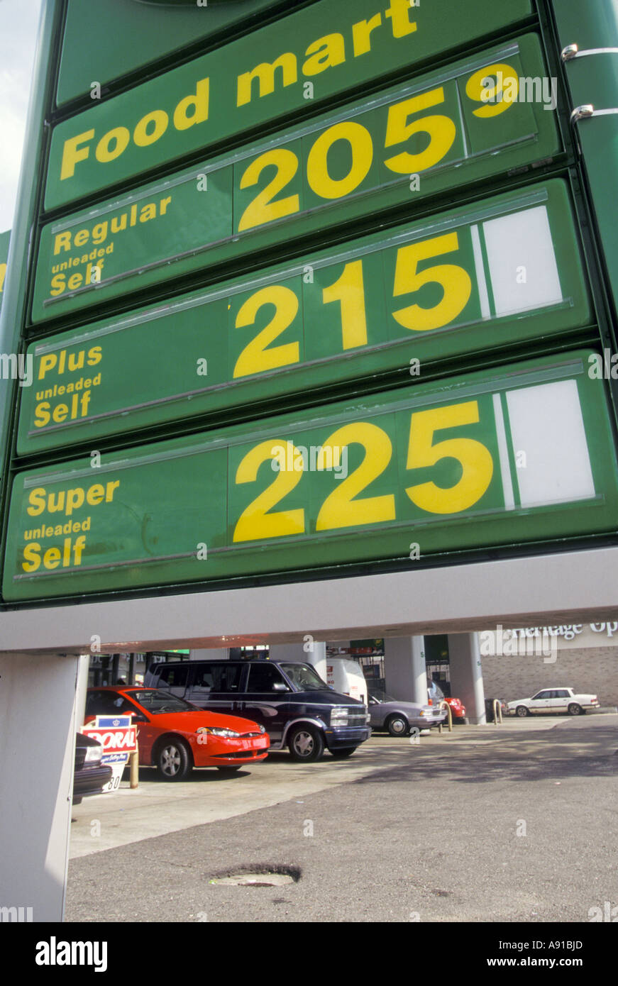 Detroit Michigan A BP gas station with prices above 2 00 a gallon Stock Photo