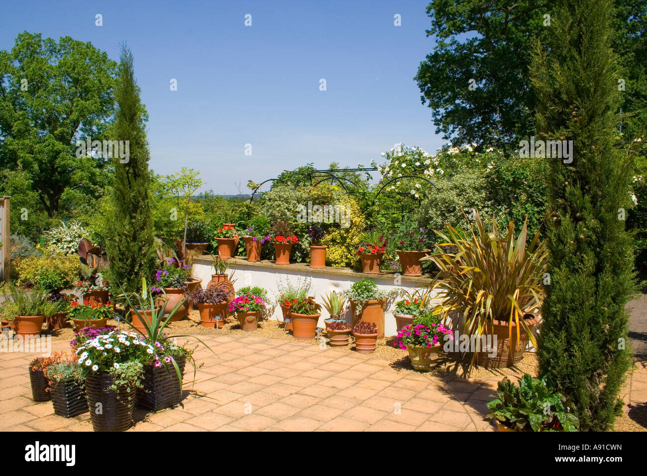 A terraced garden in the sun Stock Photo