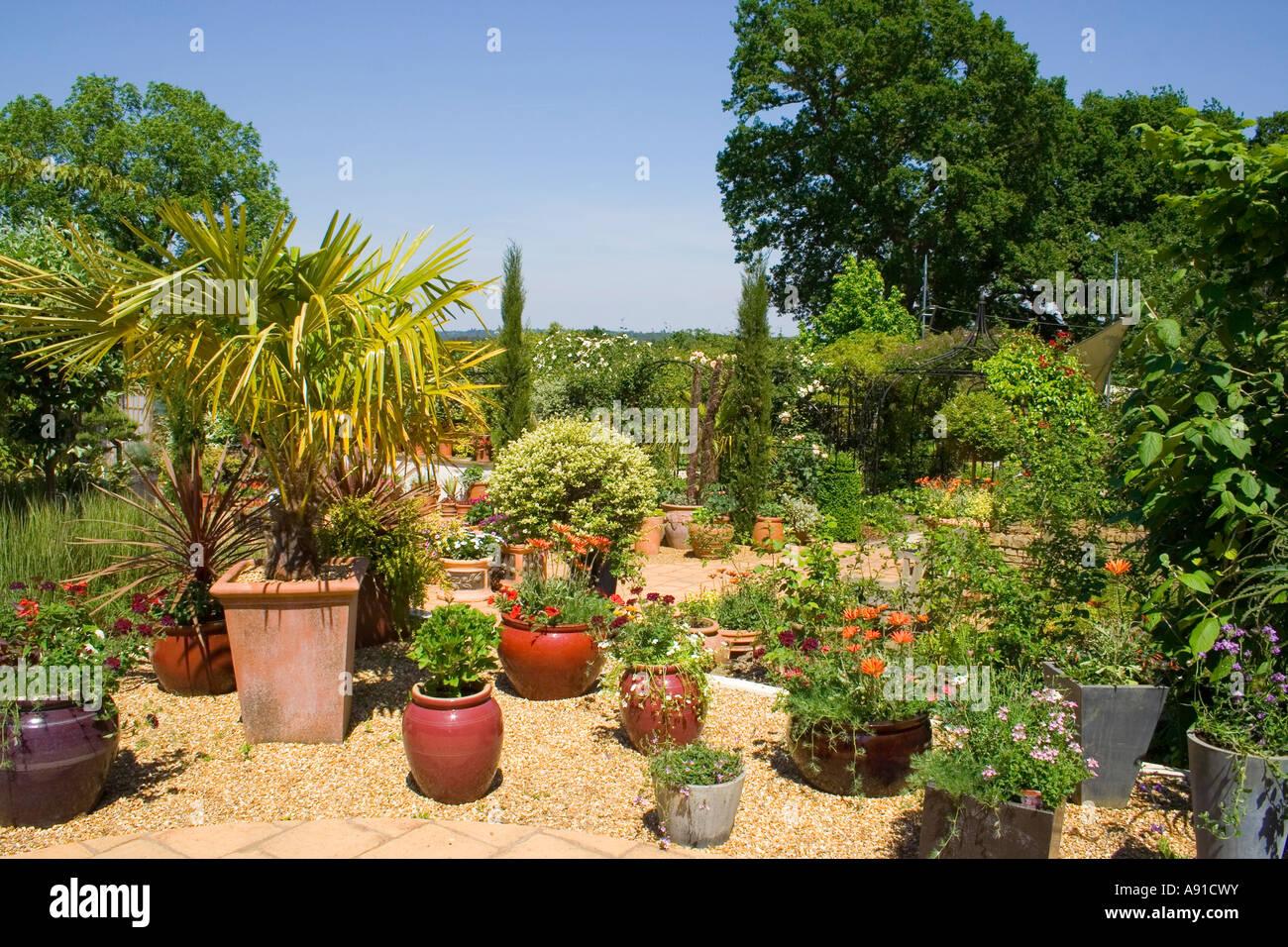 A terraced garden in the sun Stock Photo