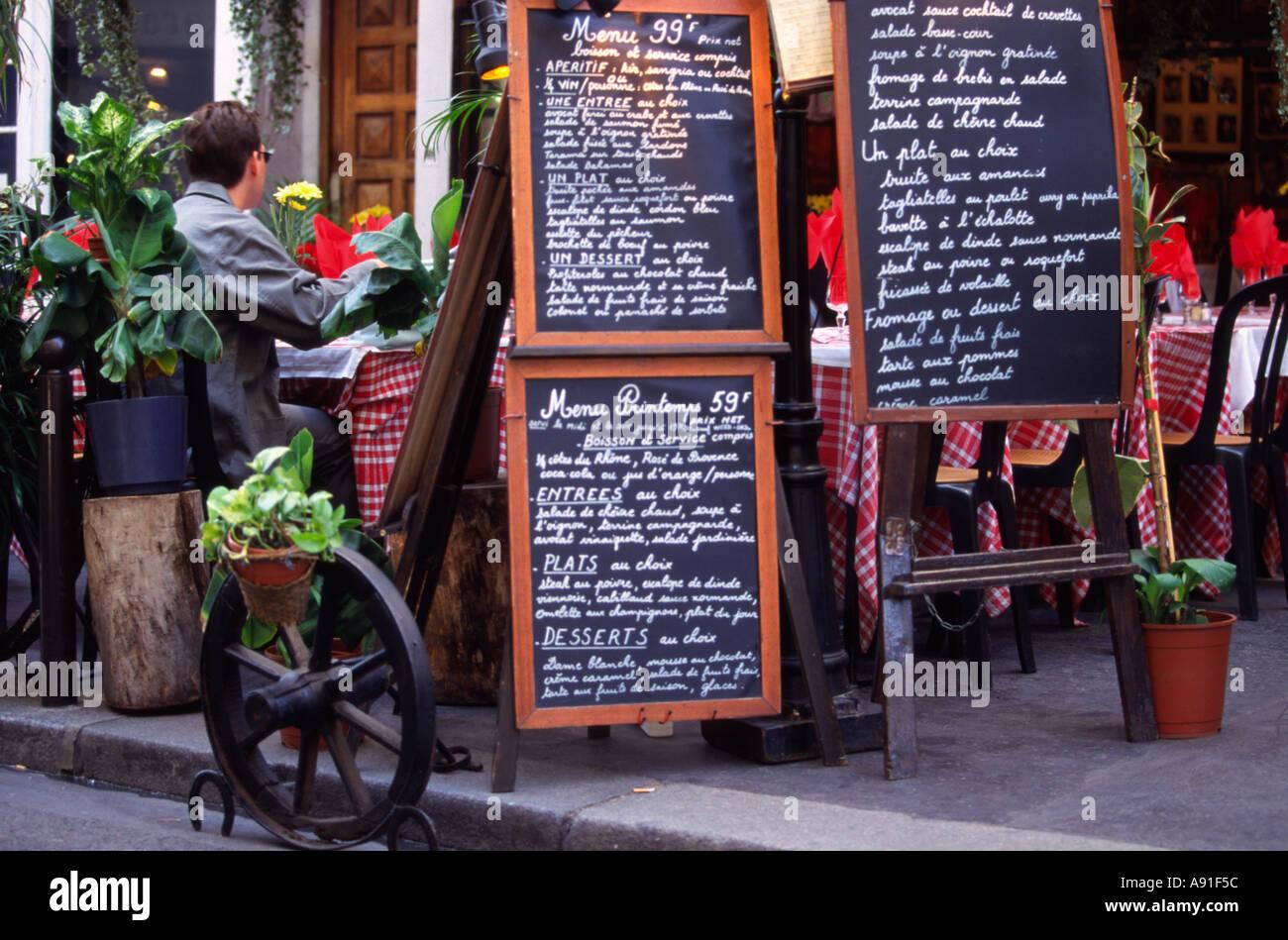 Menus of french restaurant Paris Stock Photo
