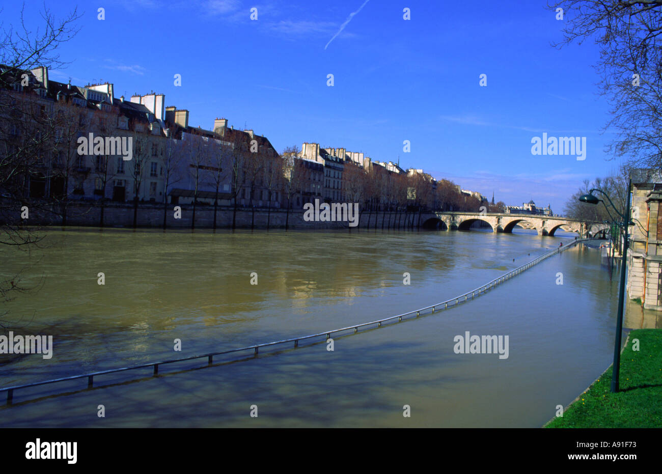 Inundations at Paris France  - Stock Image