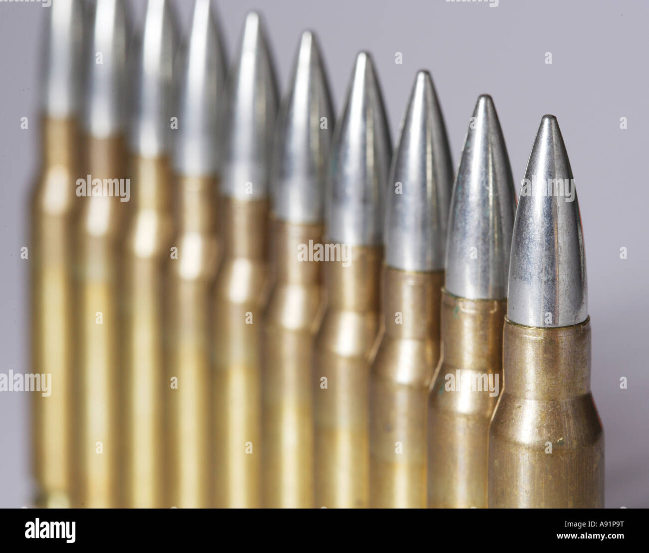 Gun ammunition 7 62x51 for G3 and MG3 - Stock Image