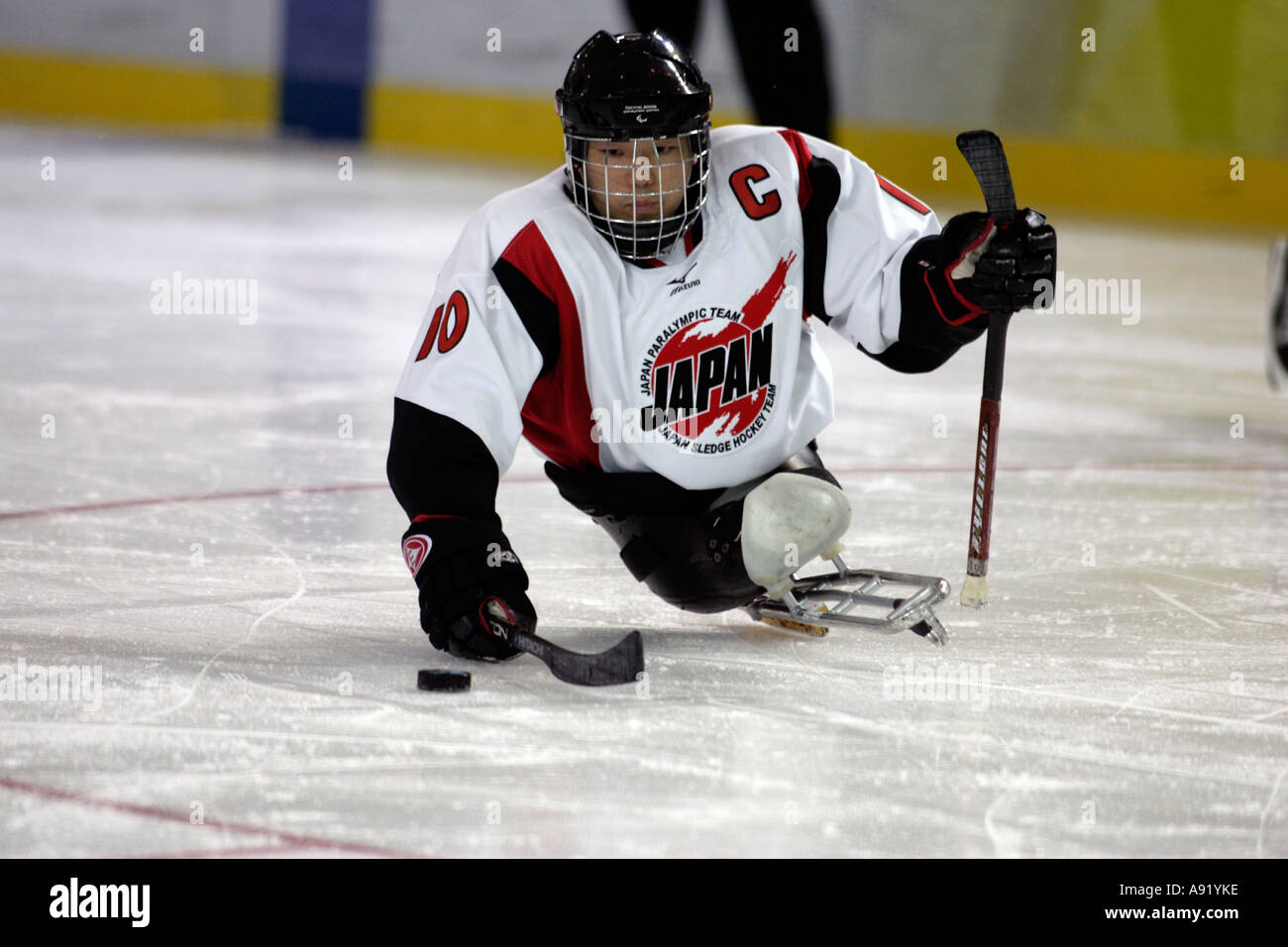 ENDO of Japan in possession of the puck - Stock Image