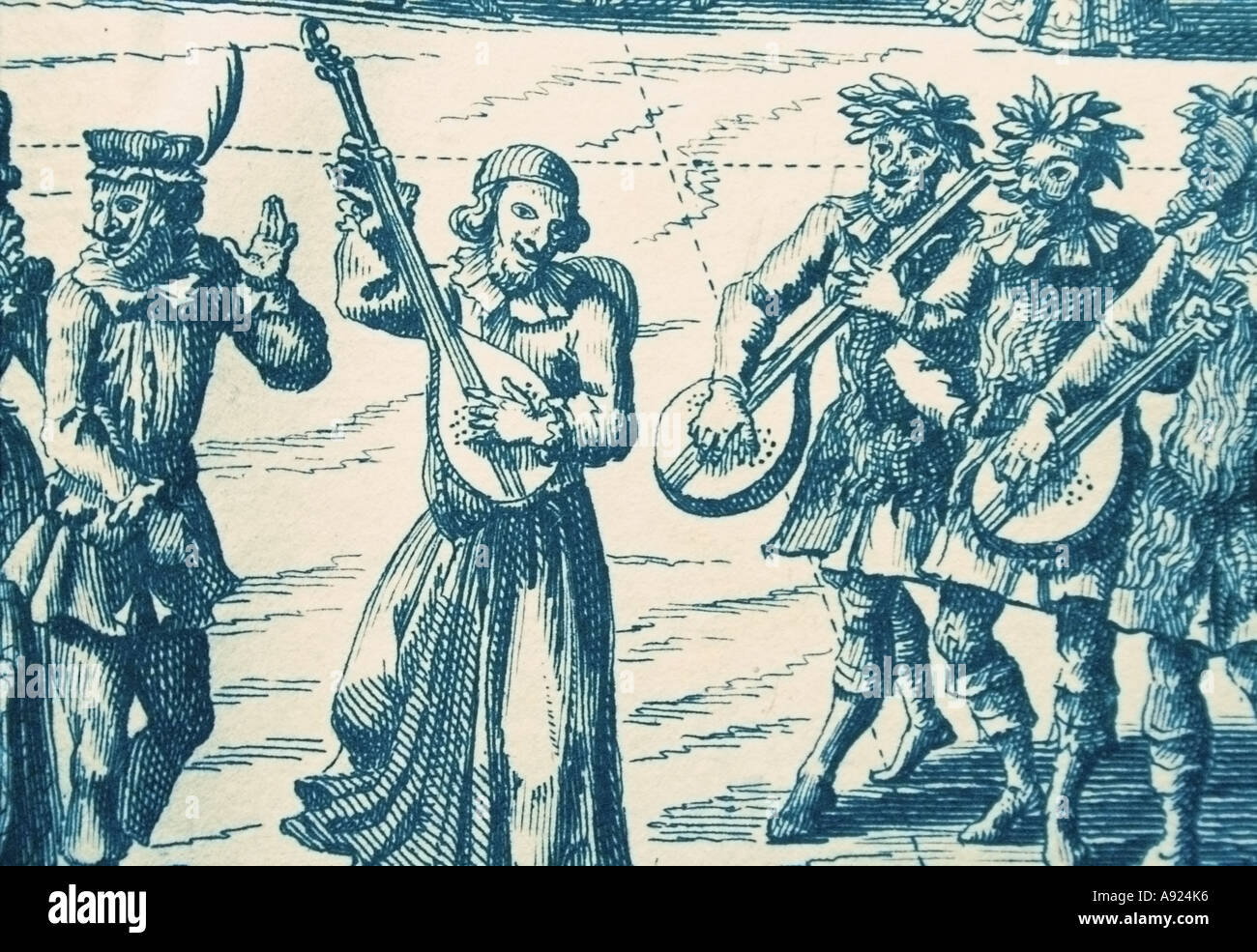 Musicians celebrating Carnival in Venice, from an 18th-century Dutch engraving - Stock Image