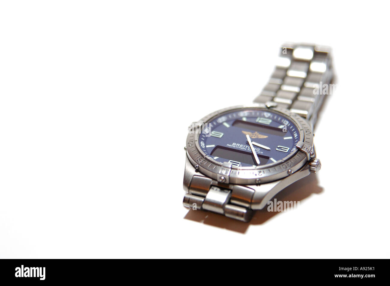 Breitling Aerospace repetition minutes titanium gents wristwatch white background - Stock Image