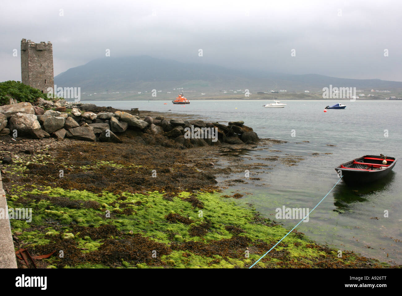 the harbour at Granuaile's Tower, Kildownet, Achill Island, County Mayo, Republic of Ireland - Stock Image