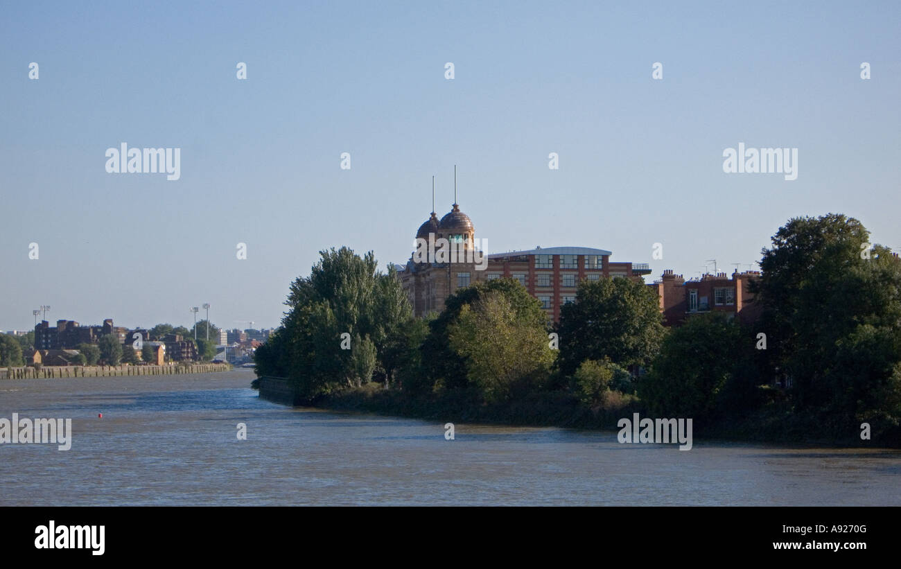 River Thames looking east from Hammersmith Bridge London England UK - Stock Image