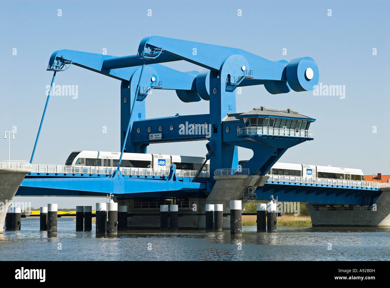 Train on the bridge to Usedom island near Wolgast, Mecklenburg Western Pomerania - Stock Image