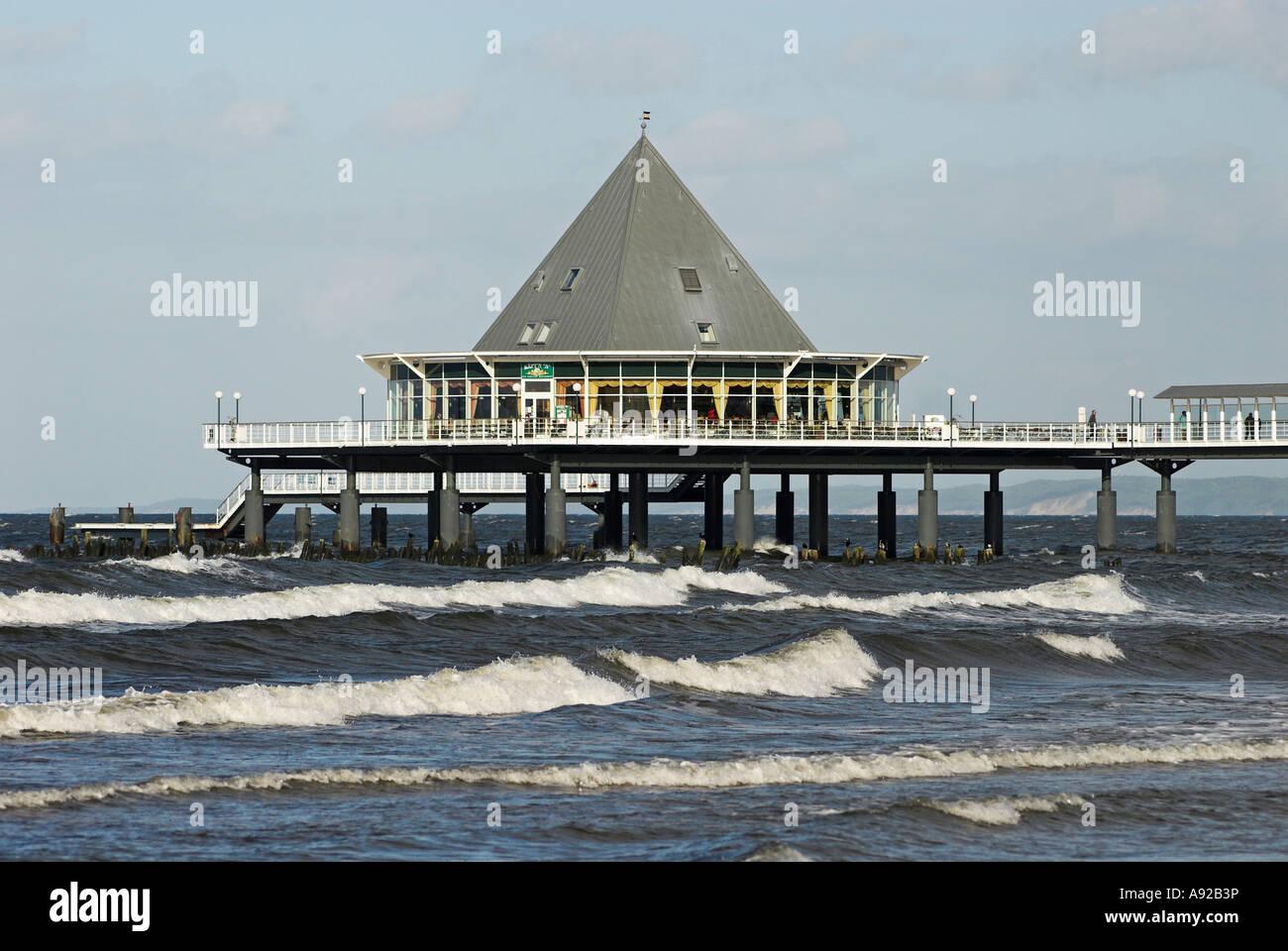 Pier at sea at Heringsdorf, Usedom island, Mecklenburg Western Pomerania, Germany, Europe Stock Photo
