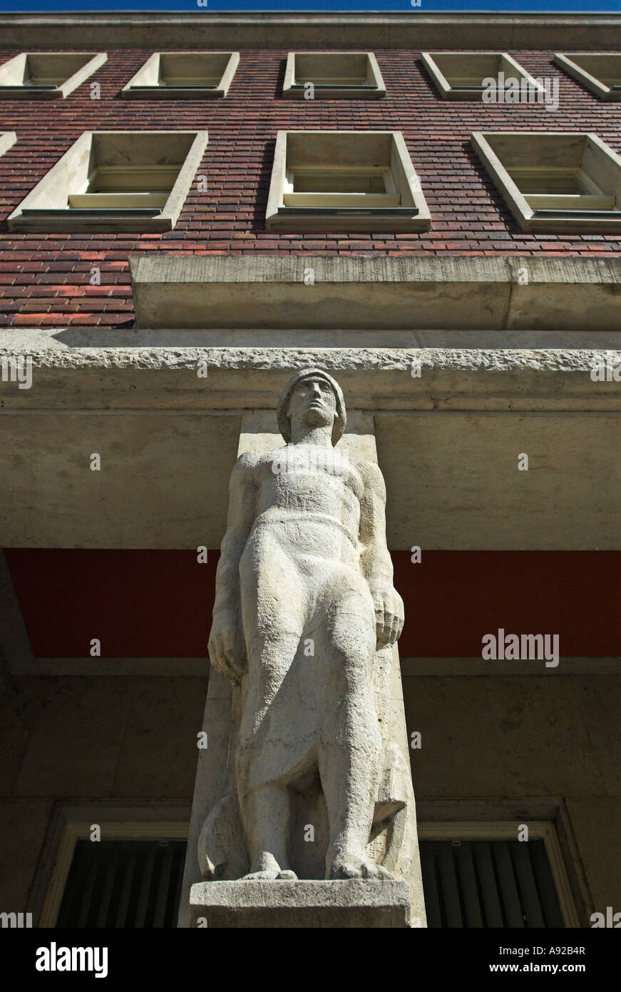 Sculpture at the house of the unions, Hanseatic city of Stralsund, Mecklenburg Western Pomerania, Germany, Europa - Stock Image