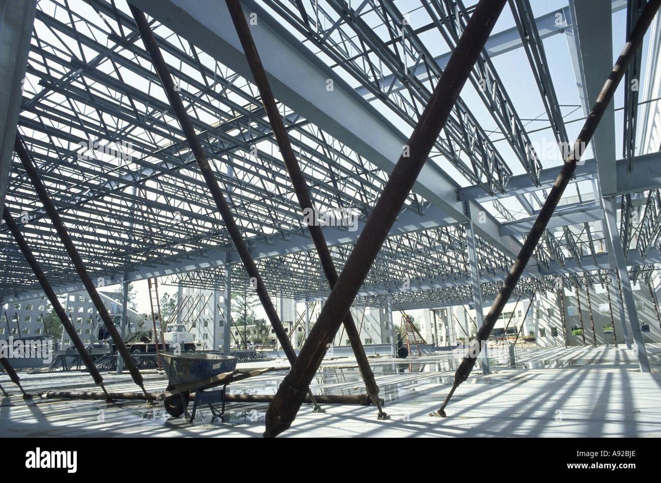 Metal framework at a construction site Stock Photo