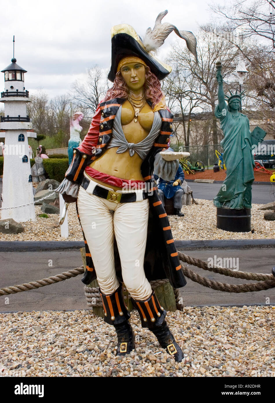 Female pirate statue at the Classic Auto Wash in Cromwell Connecticut - Stock Image
