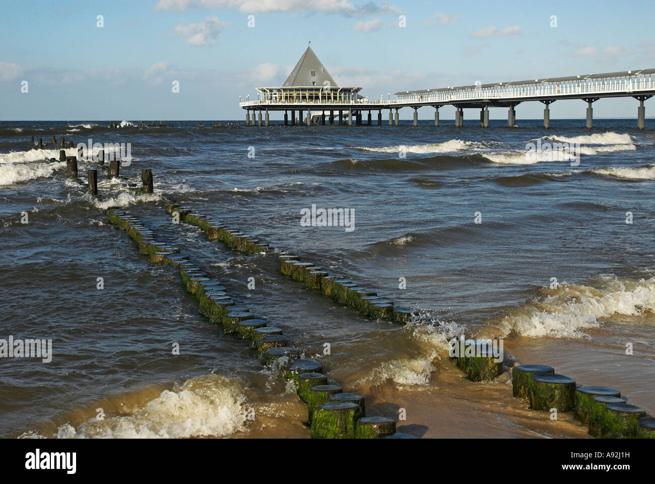 Pier at sea at Heringsdorf, Usedom island, Mecklenburg Western Pomerania, Germany, Europe Stock Photo