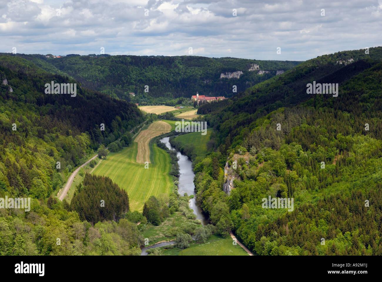 Danube valley - Overview, Swabian Alb, Baden-Wuerttemberg, Germany, Europe. Stock Photo