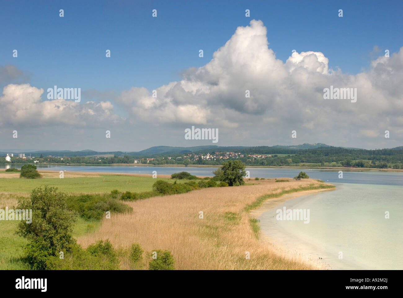 A View on the peninsula of Mettnau - Lake Constance, Baden-Wuerttemberg, Germany, Europe. - Stock Image
