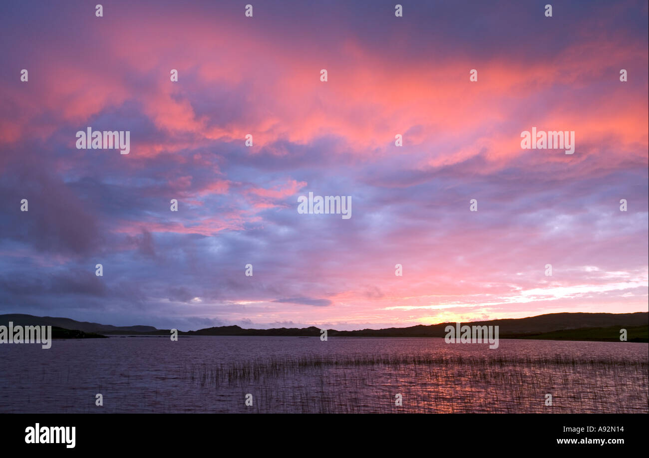 Sunset over the lough at Dunfanaghy County Donegal Eire - Stock Image