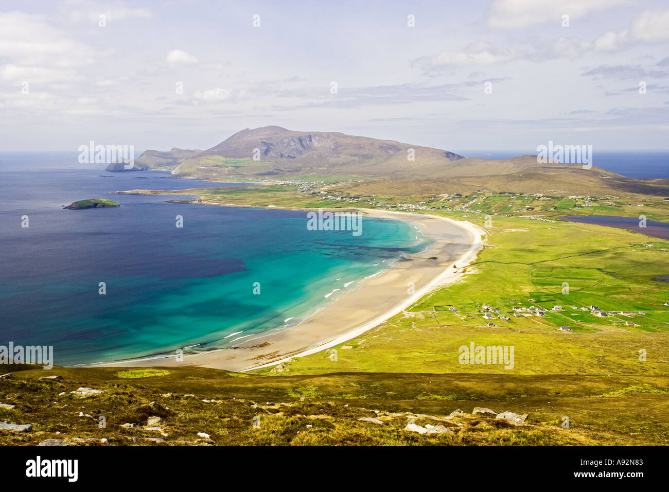 Keel Beach Viewed from Moytage head Achill Island County Mayo Eire - Stock Image