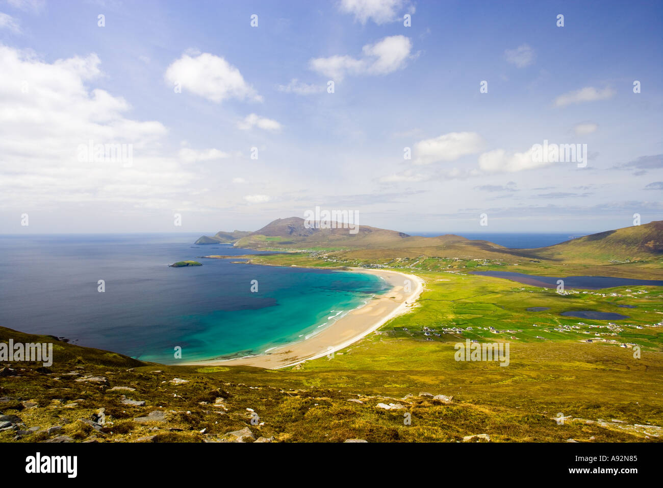 Keel Beach viewed from Moytoge Head Achill Island County Mayo Eire - Stock Image