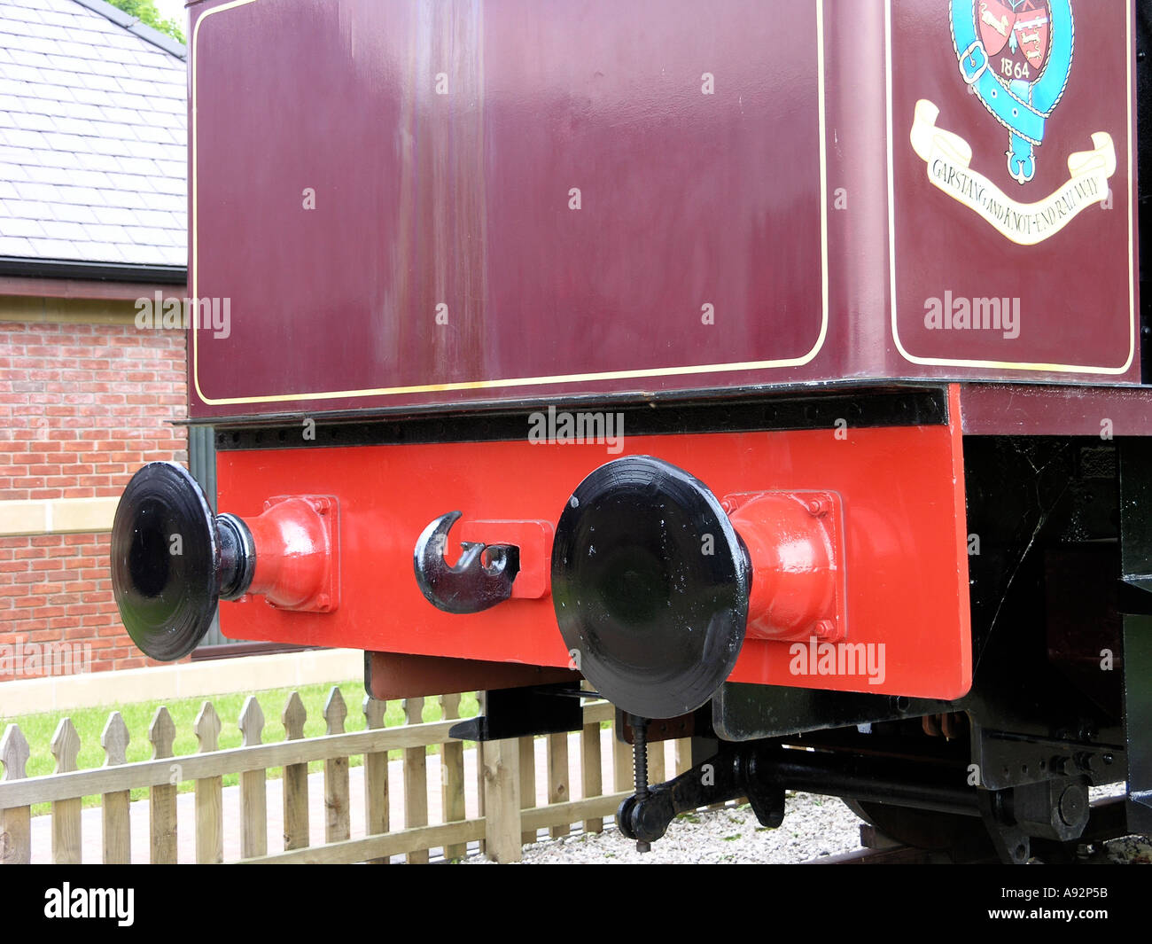 Close up of the 'Pilling Pig' preserved locomotive at Pilling Lancashire - Stock Image