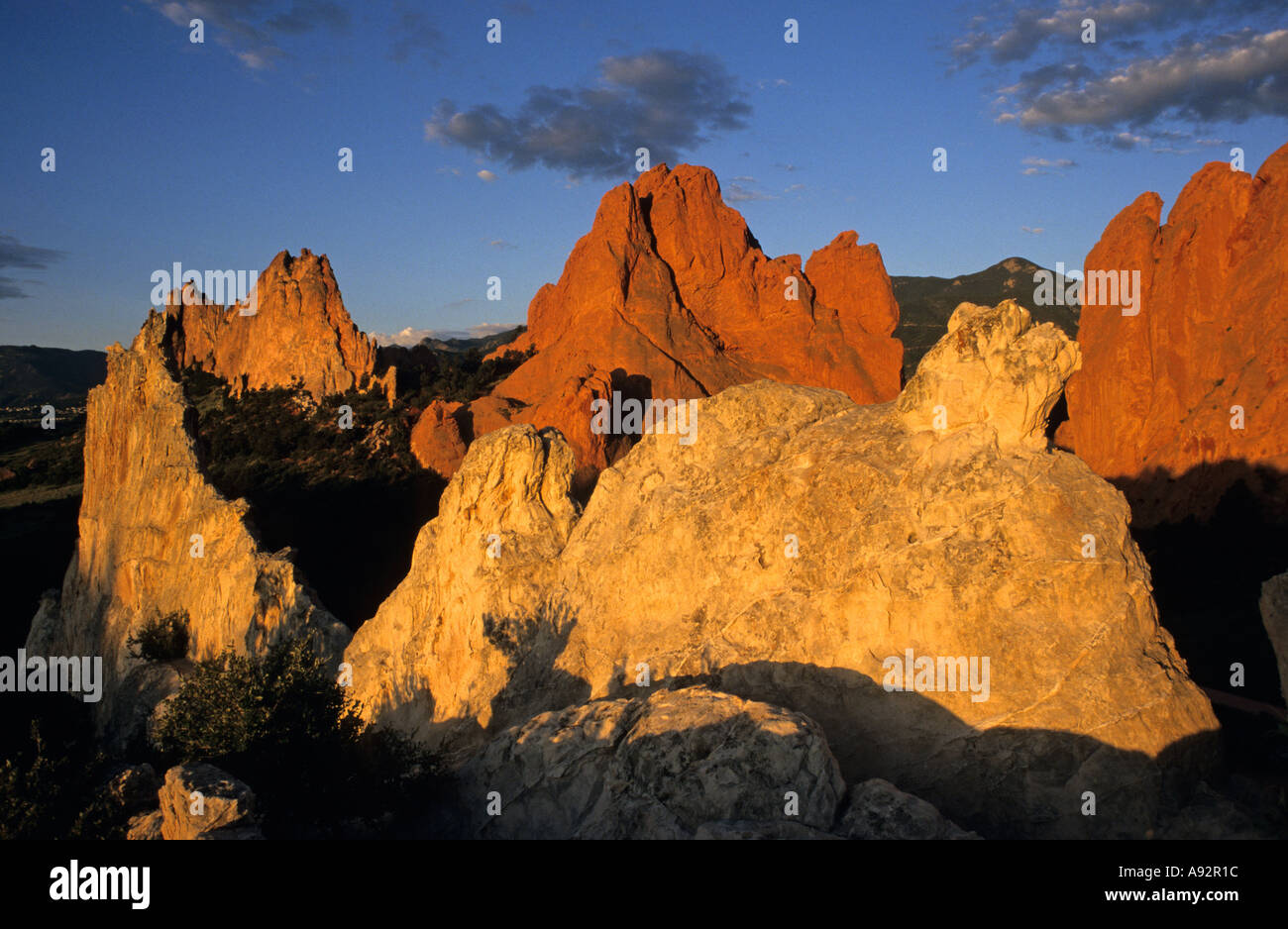 Sunrise on Garden of the Gods Colorado Springs Colorado United States - Stock Image