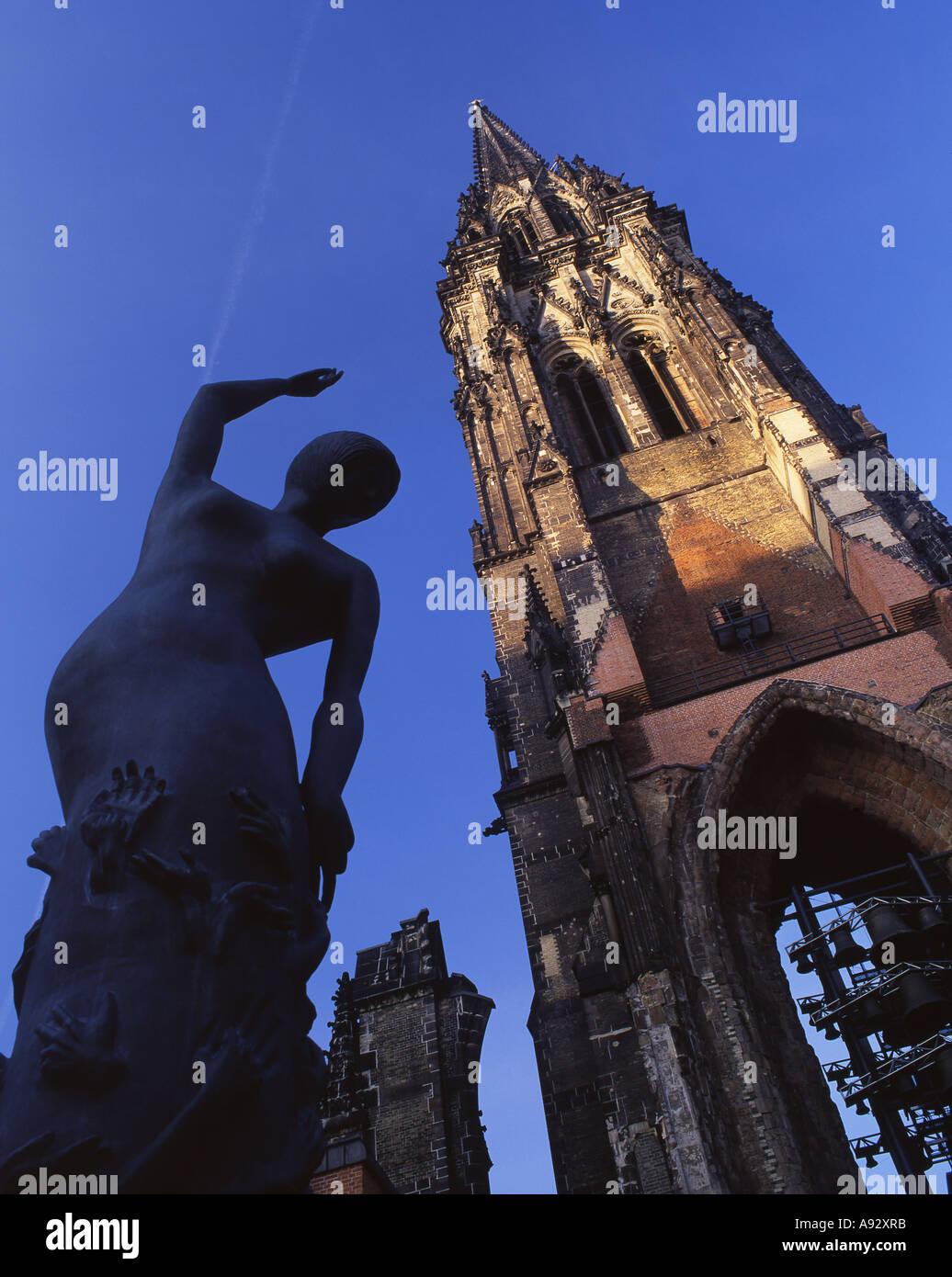 Nikolaikirche St Nicholas Church ruin Earth Angel statue by