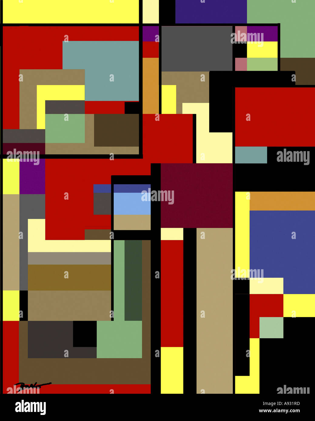 Skyscraper #2   2003  Diana Ong (b.1940 Chinese-American)  Computer graphics Stock Photo