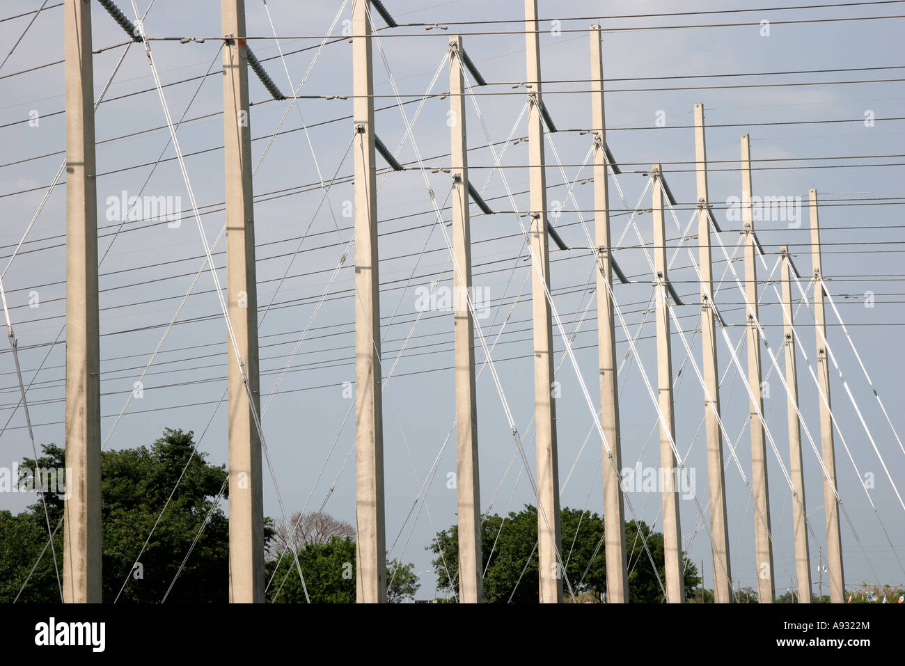 Homestead Florida US Route 1 One utility poles high tension wires ...