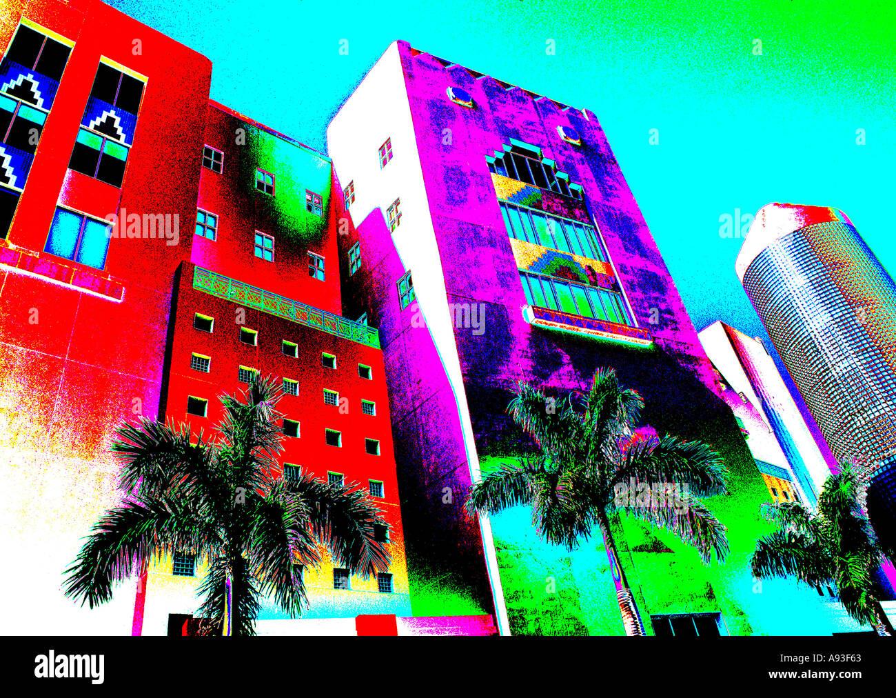 Miami Beach Florida Pastel Colors Art Deco Style Stock Photo Alamy
