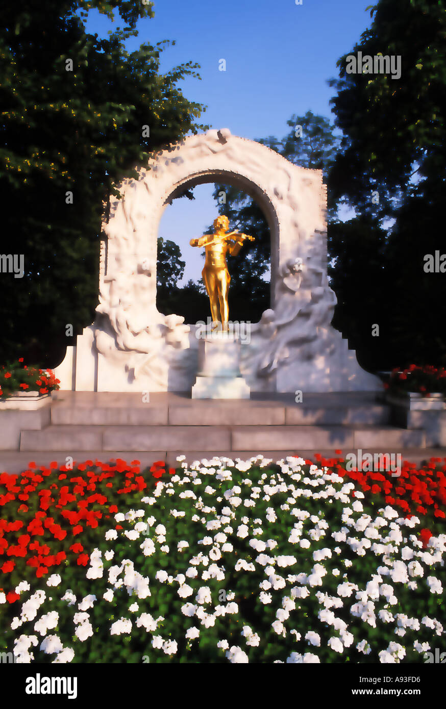 Monument of Johann Strauss in Vienna Austria Stock Photo