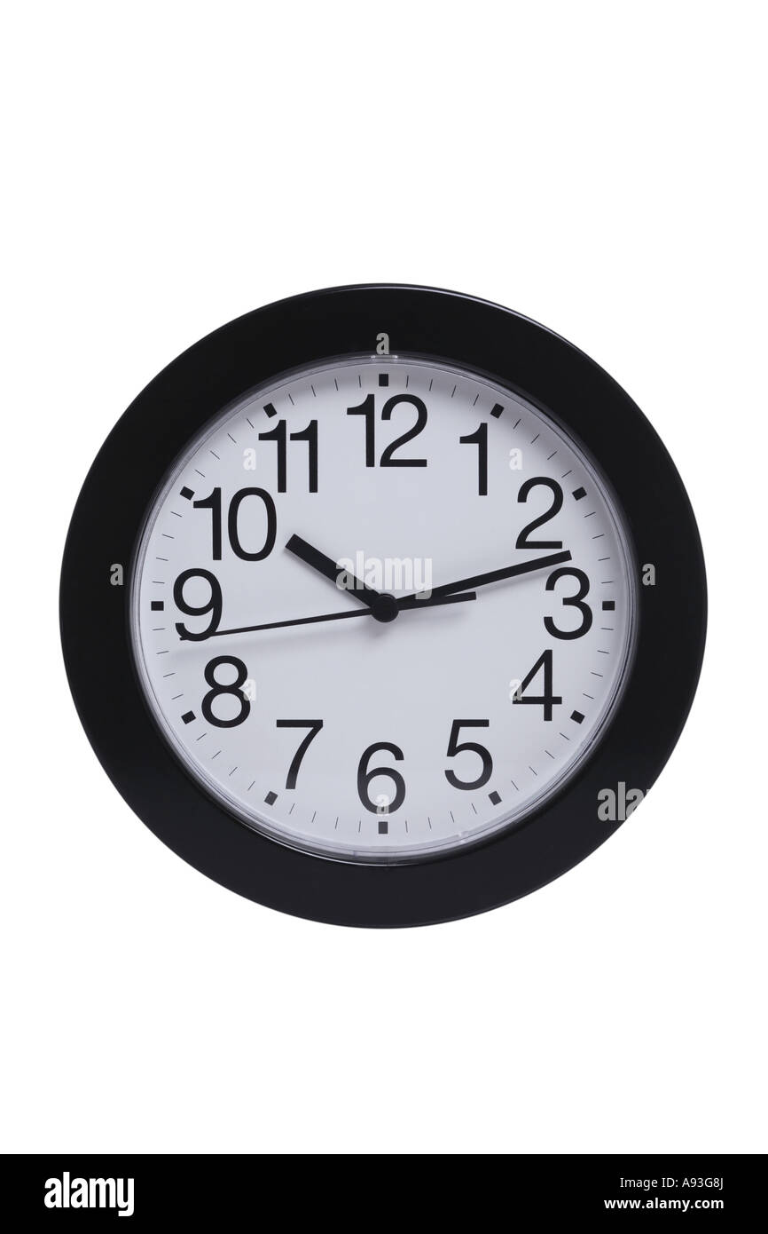 Simple Clock cut out on white background - Stock Image