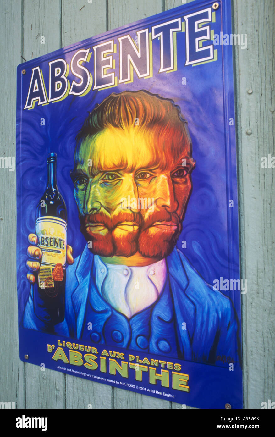 Advertising poster in France for Absinthe alcoholic drink with its famous drinker, Van Gogh - Stock Image