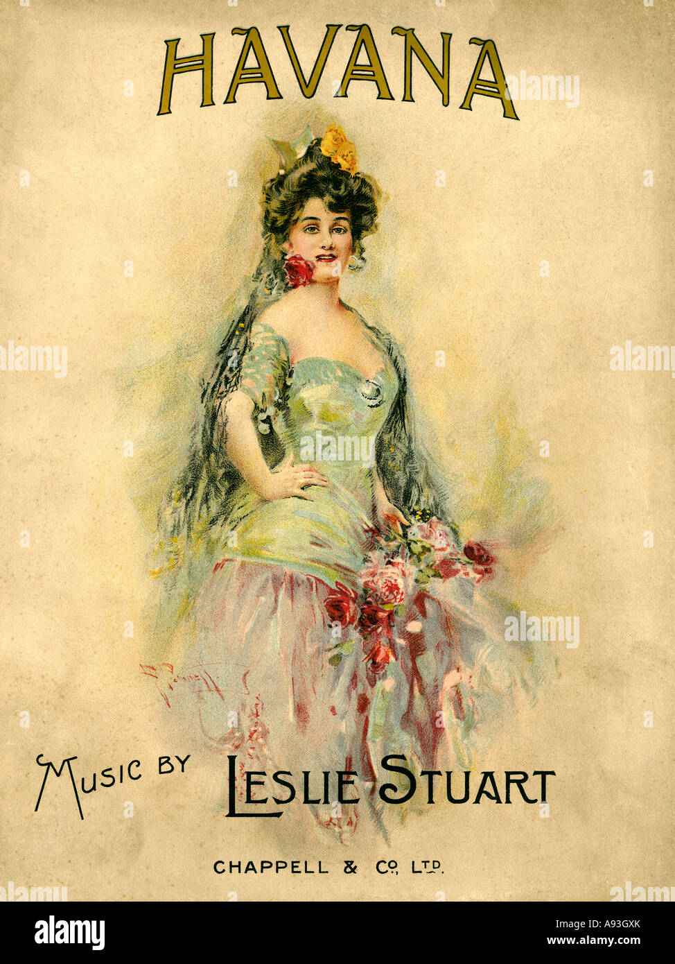 Havana 1908 the cover of the score by Leslie Stuart for the musical play by George Grossmith staged in London - Stock Image