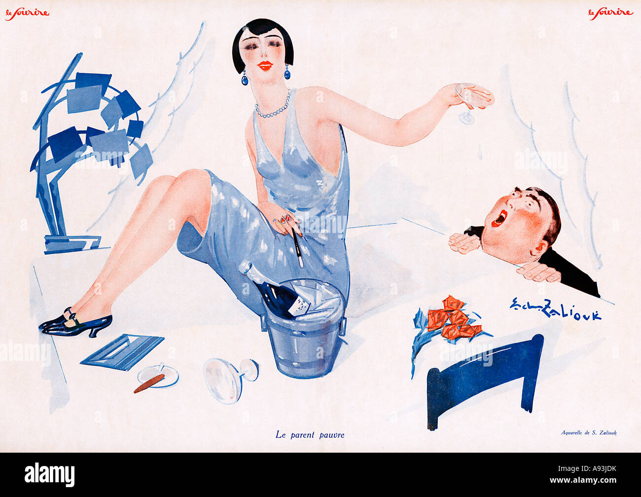 Le Parent Pauvre 1927 French magazine illustration of the rich patron at the mercy of his partying mistress - Stock Image