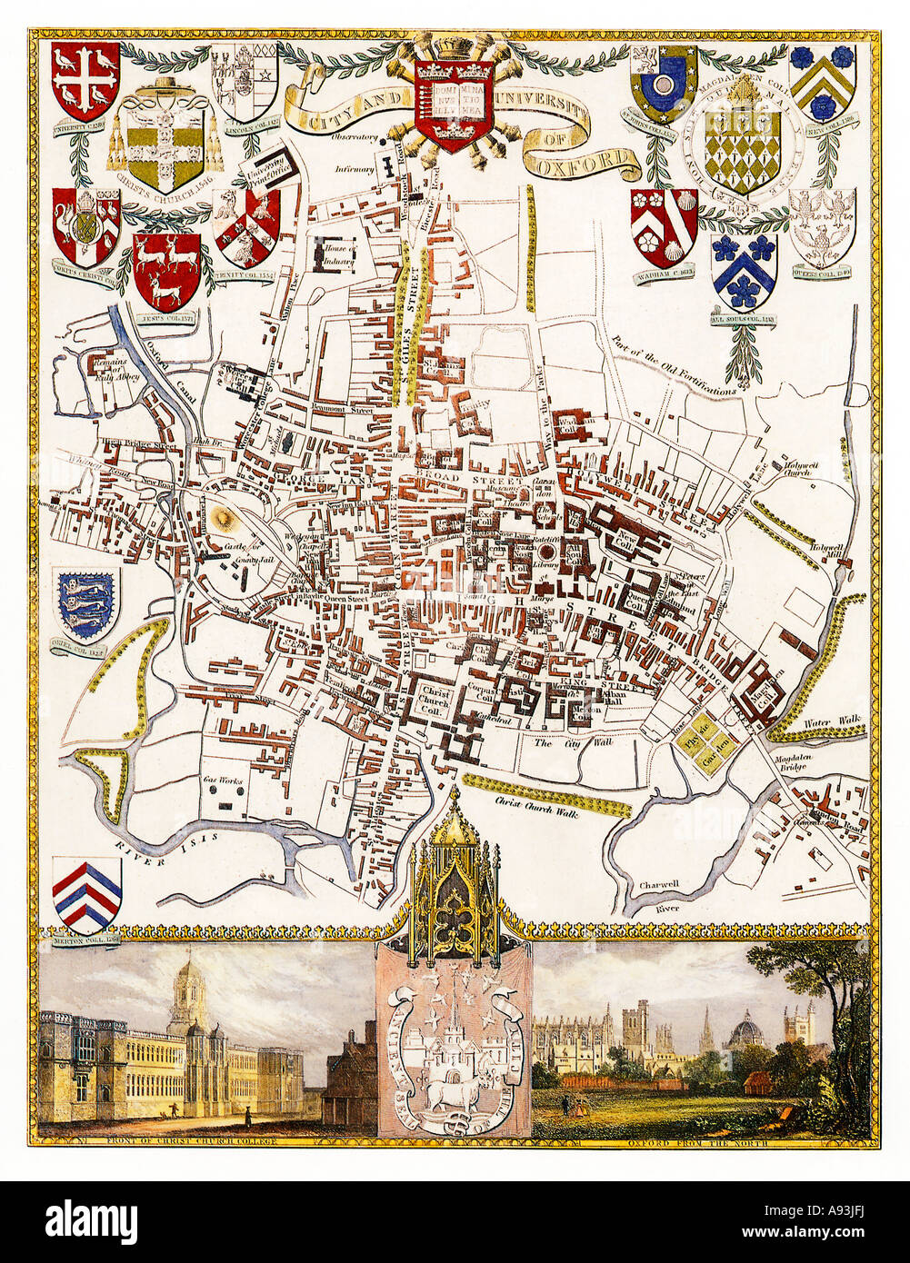Oxford Map Victorian map of the City and University by Thomas Moule with illustrations of Christ Church and from - Stock Image