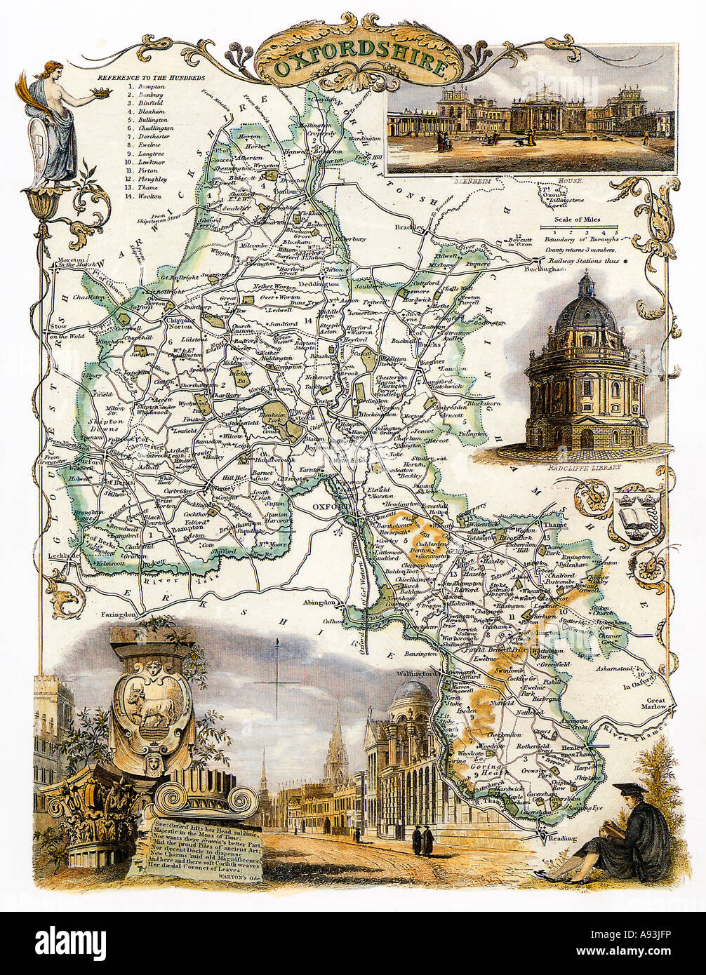 Oxfordshire Map Victorian map of the English county by Thomas Moule with illustrations of Blenheim and the City - Stock Image