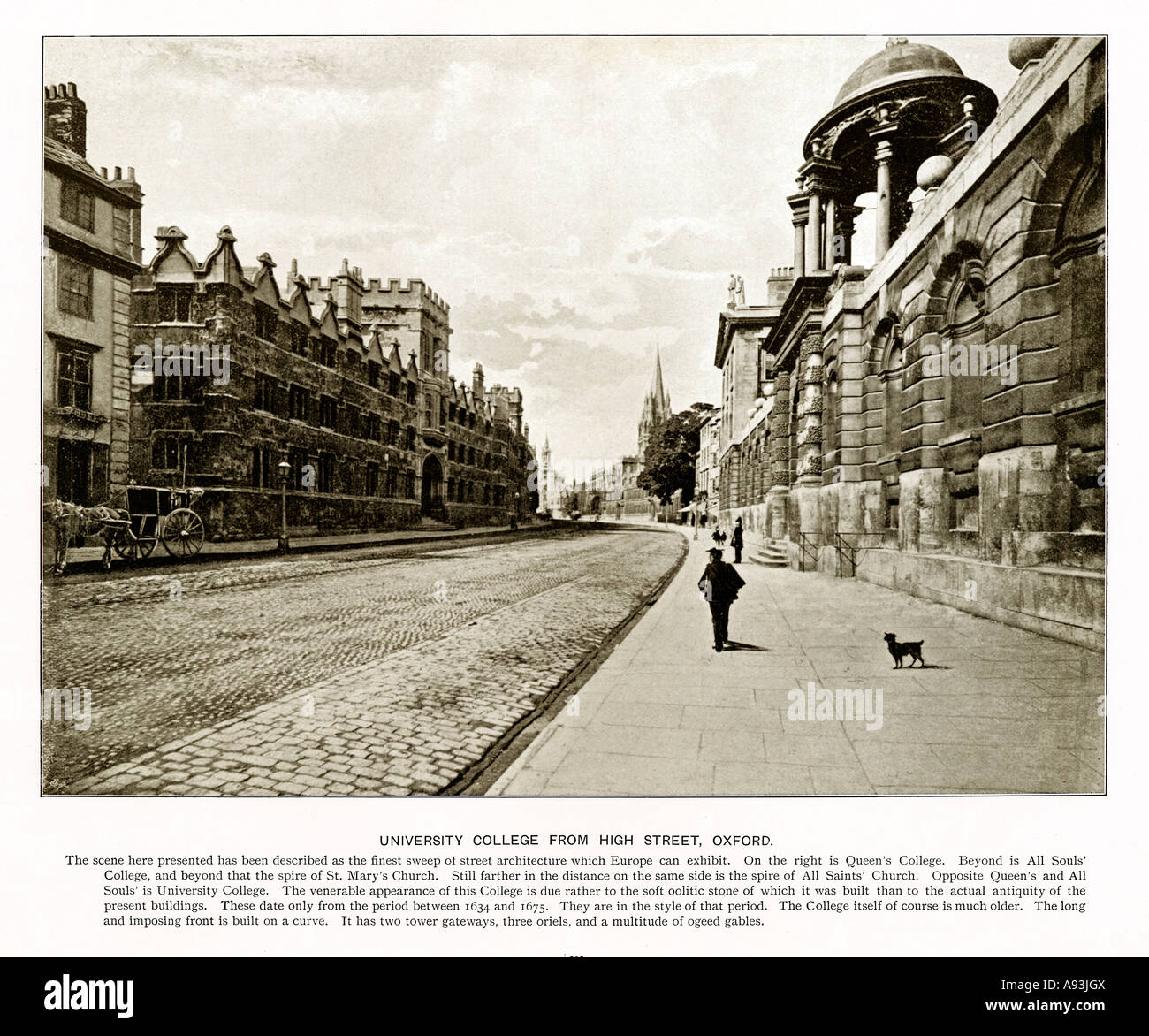 High Street, Oxford, 1900 photo of University College, Queen's College and All Souls from the High Street - Stock Image