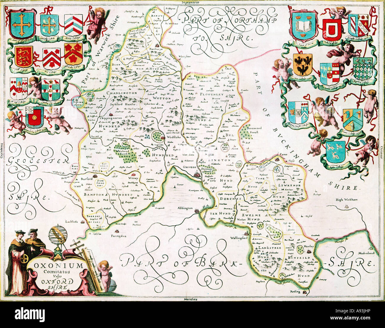 Oxfordshire Jansson s Atlas 1658 the map of the county from the Novus Atlas with the arms of the University colleges - Stock Image