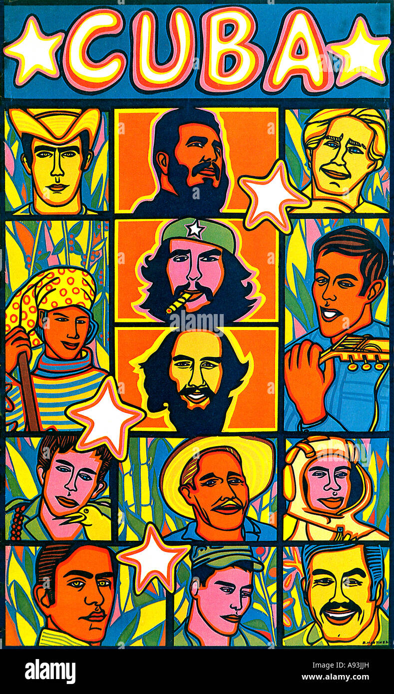 Cuban Heroes 1968 political poster celebrating the heroes of the socialist revolution headed by Castro and Che Guevara - Stock Image