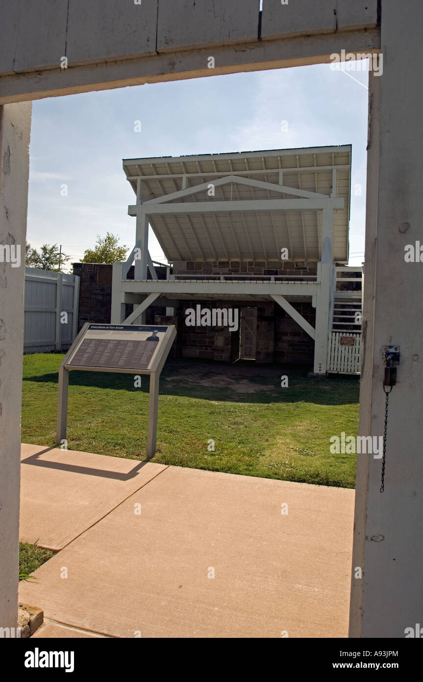 A reproduction of the gallows 1886 at Fort Smith National Historic Site Fort Smith Arkansas - Stock Image