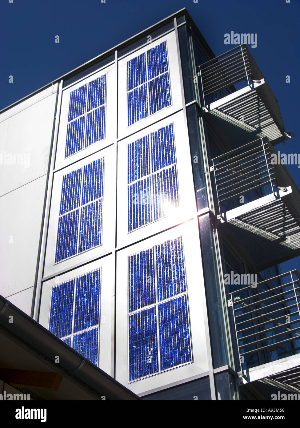 SOLAR electric panel power on a house wall outdoor outside Stock ...