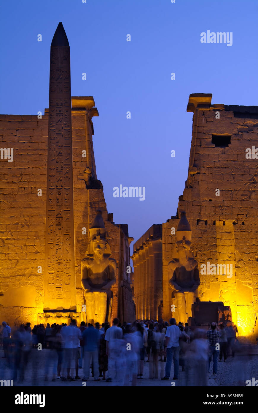 Luxor Temple at night, Egypt Stock Photo