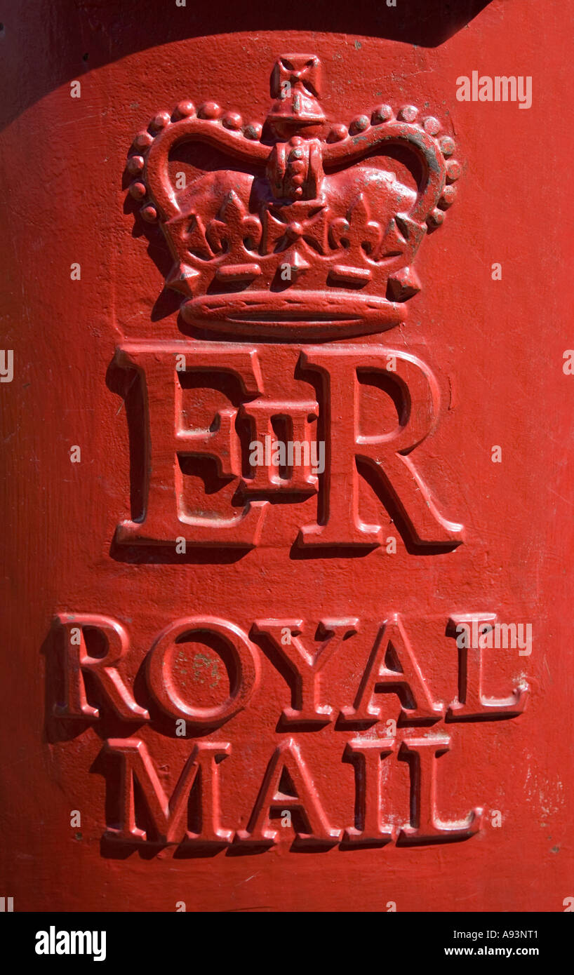 Victorian Royal Mail postbox pillar box insignia Hereford England UK - Stock Image