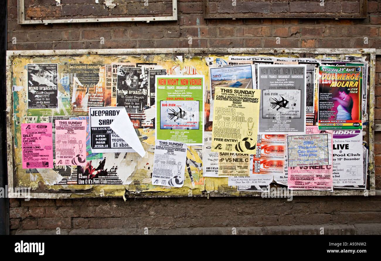 Torn and tatty posters pasted to a faded board in a back street Hereford England UK - Stock Image