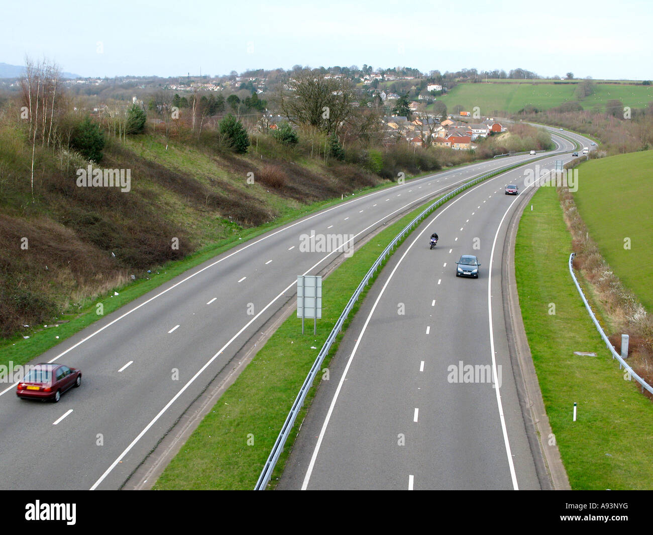 A4042 dual carriageway near Newport South Wales UK - Stock Image