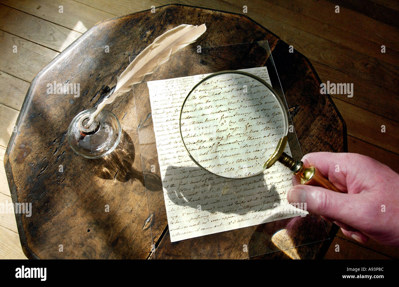 Jane Austen's writing table and a letter to her sister Cassandra at the  [Jane Austen House  museum] - Stock Image