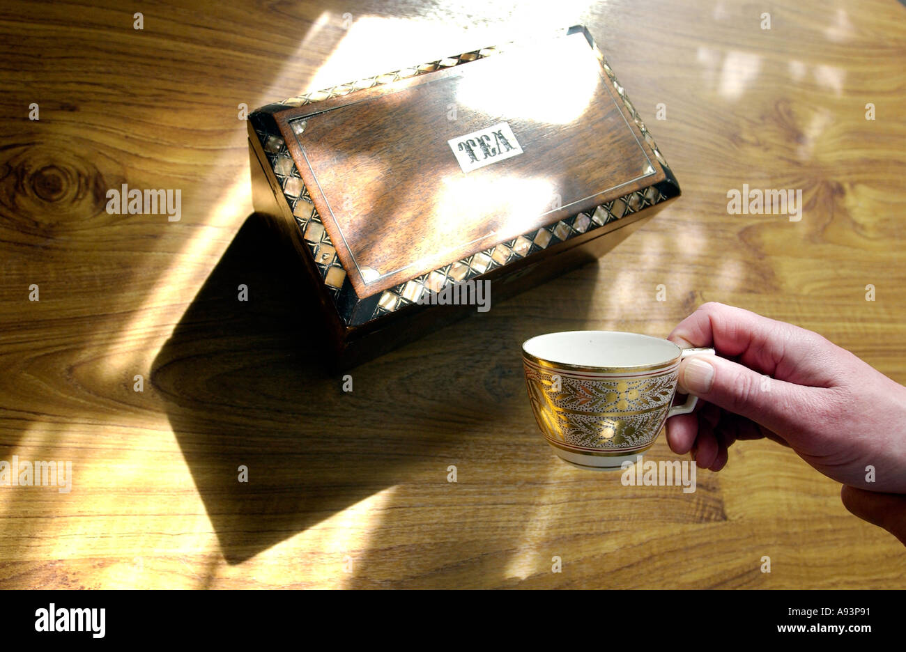 Jane Austin s writing table and Regency teacup and tea caddy at the  [Jane Austen House  museum] - Stock Image