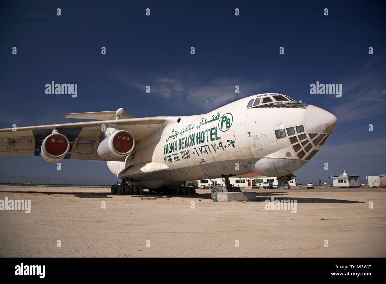 Abandoned Ilyushin Il 76 airlifter used to advertise a hotel in the United Arab Emirates UAE - Stock Image